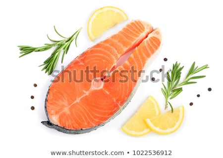 top view of fresh red fish slices stock photo © nasonov