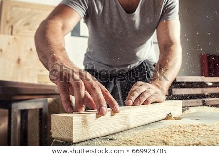 Trabalhadores madeira fábrica homem construção projeto Foto stock © zurijeta