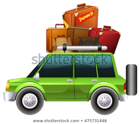 Green jeep loaded with luggages Stock photo © bluering