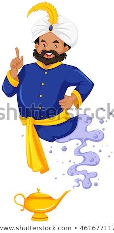 Gênio azul fora lâmpada ilustração fundo Foto stock © bluering
