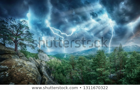 Tornade montagnes illustration paysage fond montagne Photo stock © bluering