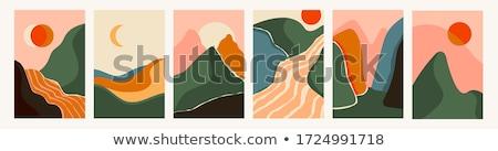 Tájkép hegycsúcs hegy hold expedíció szalag Stock fotó © Genestro