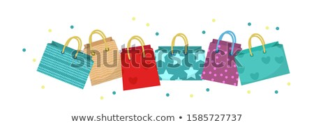 Cute shopping bag banner. Colorful shopping bags with different design board. Paper bags with space  Stock photo © lucia_fox