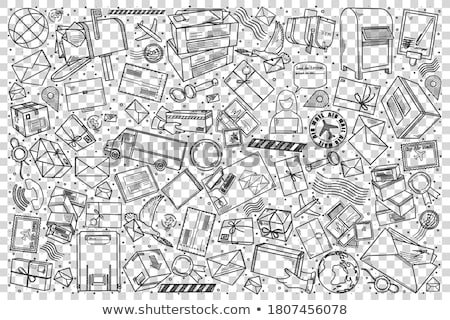 sketched mail elements set stock photo © jeksongraphics