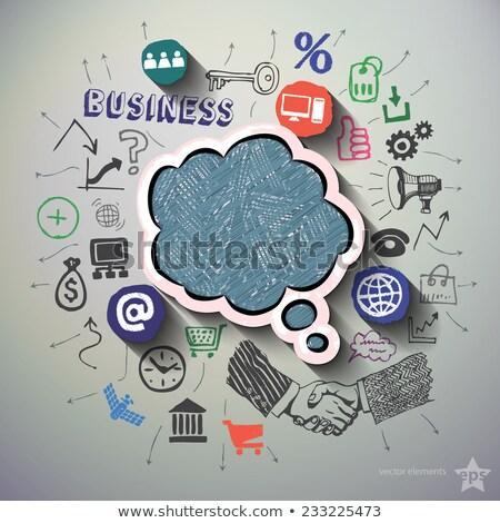 colorful hand drawn finance network icon set vector illustratio stock photo © cosveta
