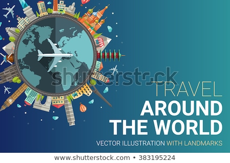 Stock photo: Around the world flat design postcard illustration