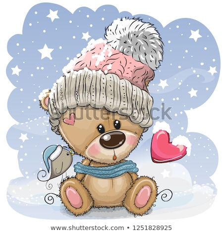 happy valentines day knitted teddy bear with heart vector illustration stock photo © carodi
