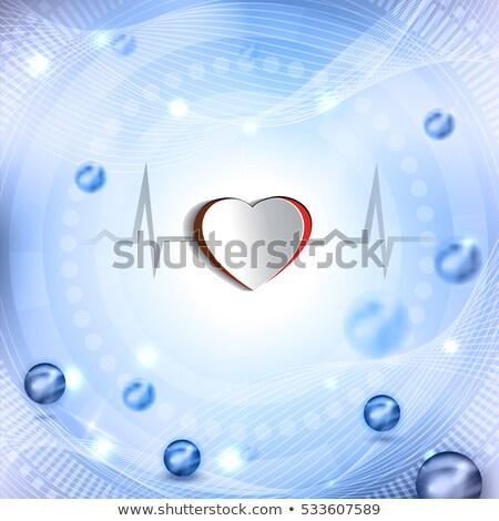 Cut out heart shape and cardiogram. Beautiful abstract backgroun Stock photo © Tefi