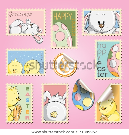 húsvét · bélyegek · szett · nyúl · felirat · tyúk - stock fotó © kariiika