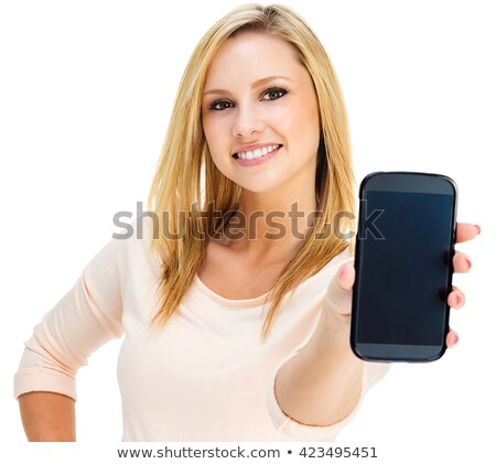Hand groot smartphone witte Stockfoto © paulinkl