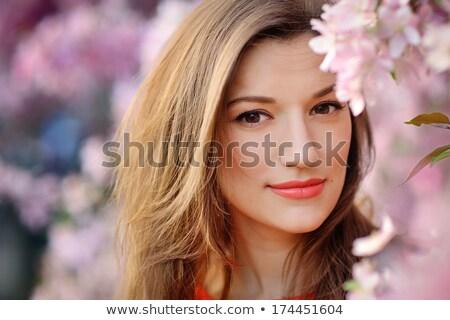 Tavasz szépség virágok romantikus portré gyönyörű Stock fotó © lithian