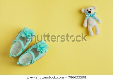 Small child accessories on turquoise background Stock photo © dashapetrenko