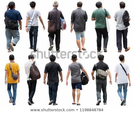 Foto stock: Vista · lateral · Asia · hombre · caminando · guapo