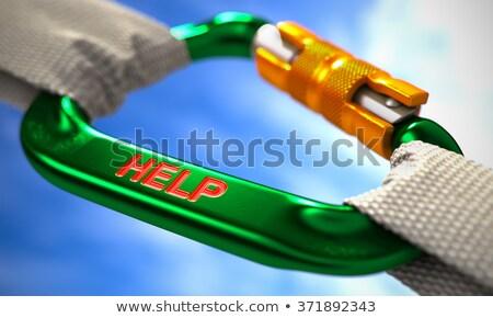 Help on Green Carabiner between White Ropes. Stock photo © tashatuvango
