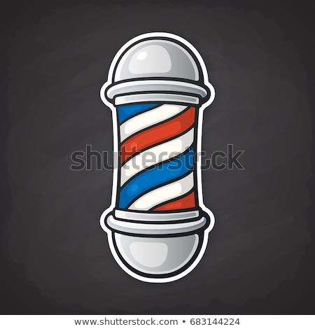 Foto stock: Desenho · animado · estilo · ilustração · barbeiro · pólo · vetor