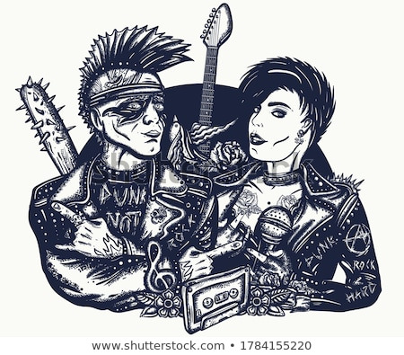Szeretet kő zsemle pár elektromos gitár áll Stock fotó © feedough
