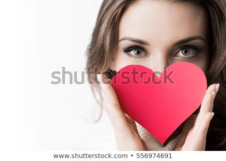 beautiful woman with heart stock photo © kurhan