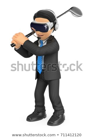 3d businessman playing golf with a virtual reality glasses stock photo © texelart