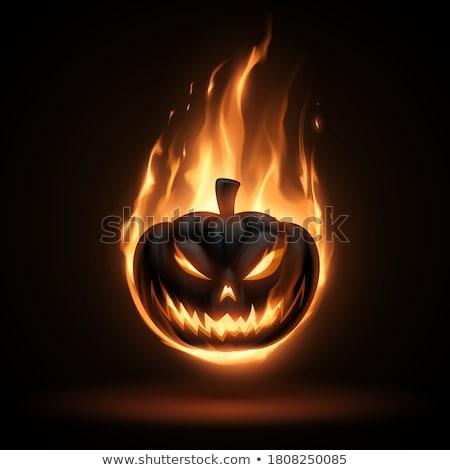 ardente · abóbora · halloween · fogo · cara · fundo - foto stock © lightsource
