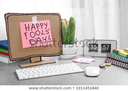 Zabawy zegar dzień odizolowany biały wektora Zdjęcia stock © orensila