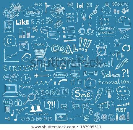 Stock photo: Business News Concept with Doodle Design Icons.