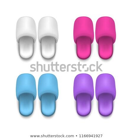 Bianco pantofole isolato hotel scarpe donne Foto d'archivio © popaukropa
