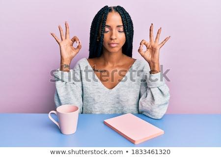 nő · ital · olvas · könyv · kávézó · emberek - stock fotó © lightfieldstudios