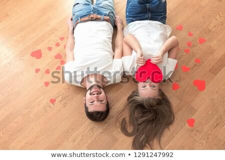 casal · posando · quarto · olhando · câmera · homem - foto stock © is2