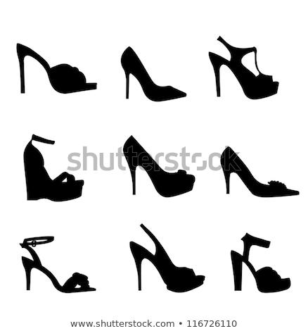 Elegáns magas sarok cipők kék rózsaszín lány Stock fotó © neirfy