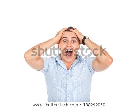 empresário · assustado · choque · retro · homem - foto stock © studiostoks