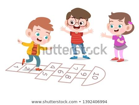 Boldog gyerekek játszik park illusztráció gyermek Stock fotó © bluering