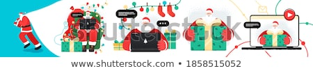 online santa claus congratulations christmas in computer order stock photo © maryvalery