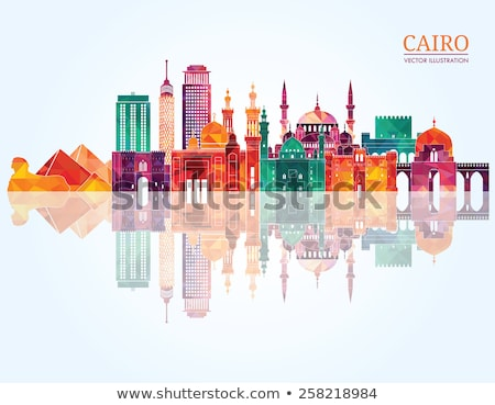 Cairo city skyline and Pyramids Stock photo © mikdam