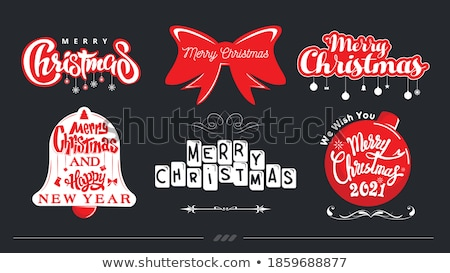 vector merry christmas happy holidays illustration with typographic design and gift box on red backg stock photo © articular