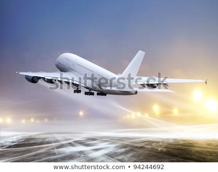 Branco avião inverno nevasca aeroporto Foto stock © ssuaphoto