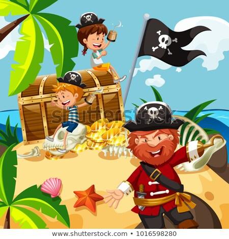 Pirata piccolo ragazzo tesoro isola illustrazione Foto d'archivio © bluering