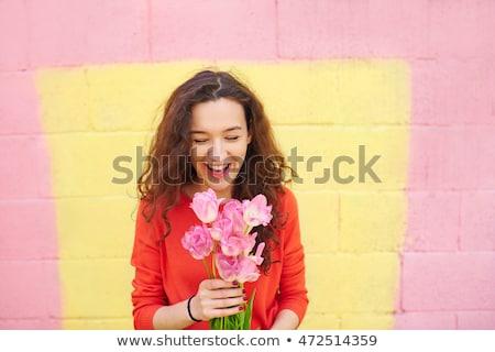 szépség · barna · hajú · köteg · virágok · lány · tavasz - stock fotó © konradbak