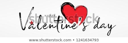 Mutlu sevgililer günü tebrik kartı şablon kırmızı kalpler Stok fotoğraf © studioworkstock