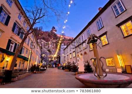 graz city center christmas fair sunset view stock photo © xbrchx