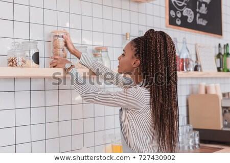 Cookie банку кухне женщины розовый Сток-фото © IS2
