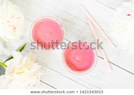 zöld · smoothie · szemüveg · hozzávalók · elrendezés · kevés · felszolgált - stock fotó © mpessaris