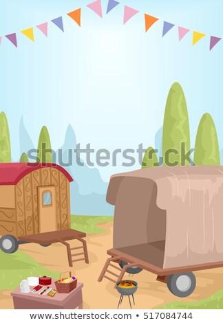 Piquenique caravana paisagem ilustração usado ao ar livre Foto stock © lenm
