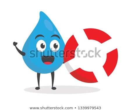 Mascote gota de água bóia salva-vidas ilustração água gotículas Foto stock © lenm