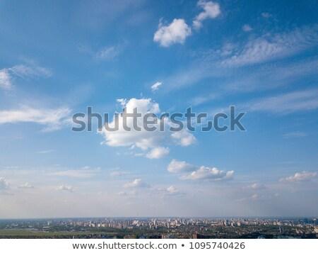 Panorámakép kilátás modern város kék fotó Stock fotó © artjazz