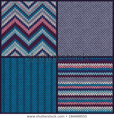 seamless knitted pattern set of blue pink white gray color backgrounds stock photo © essl