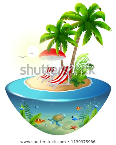 secluded vacation on tropical island two chaise lounge palm tree and underwater world stock photo © orensila