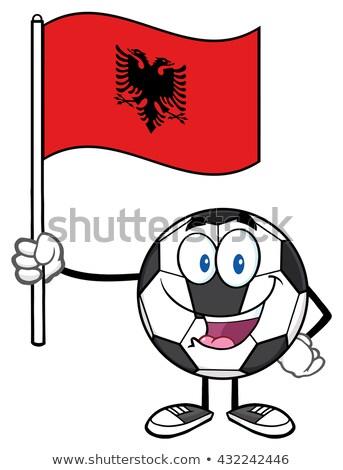 szczęśliwy · piłka · maskotka · cartoon · charakter · banderą - zdjęcia stock © hittoon
