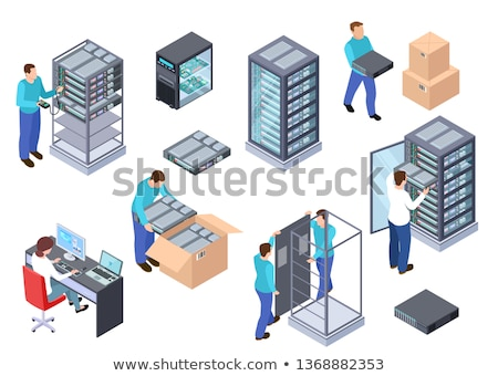 Isometric server rack. Vector 3d illustration. Stock photo © RAStudio