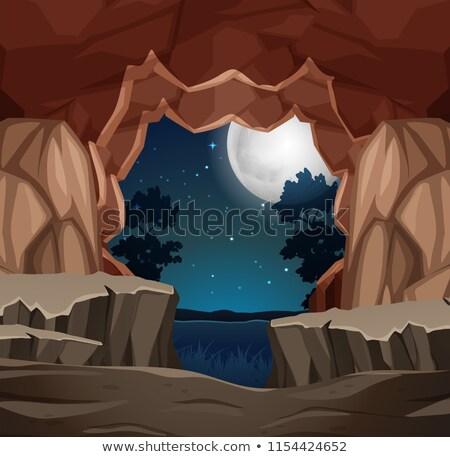 Bejárat barlang éjszakai jelenet illusztráció erdő fal Stock fotó © bluering