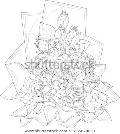 Buquê rosas mensagem cartão flores Foto stock © ESSL